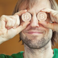 funny man with Bitcoins (new virtual money )