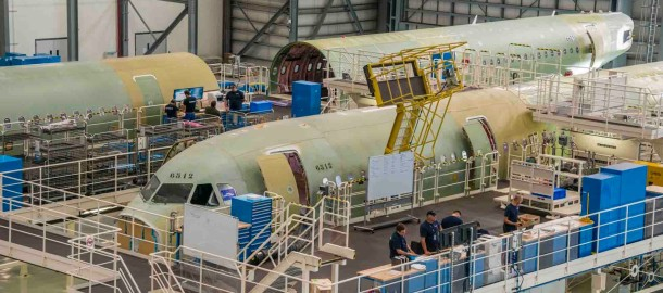 A320 Final Assembly Line in Mobile, Alabama USA_