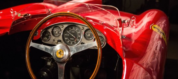 """NEW YORK, NY - DECEMBER 04: A 1956 Ferrari 290 MM by Scaglietti sits on display at Sotheby's during a press preview before the """"Driven by Disruption"""" auction on December 4, 2015 in New York City. The auction will include more than 30 vehicles spanning 70 years in automotive innovation.   Andrew Burton/Getty Images/AFP == FOR NEWSPAPERS, INTERNET, TELCOS & TELEVISION USE ONLY =="""