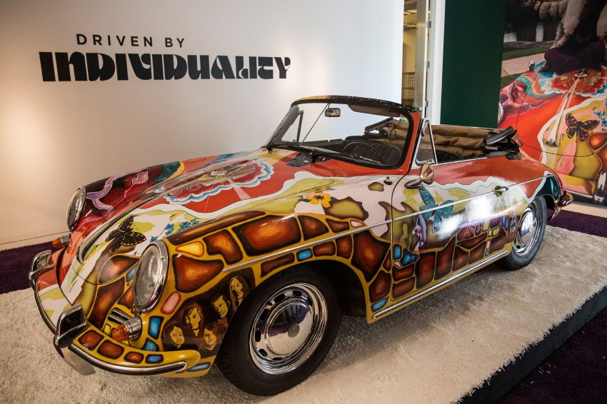 """NEW YORK, NY - DECEMBER 04: The Janis Joplin 1964 Porsche 356 C 1600 SC Cabriolet sits on display at Sotheby's during a press preview before the """"Driven by Disruption"""" auction on December 4, 2015 in New York City. The auction will include more than 30 vehicles spanning 70 years in automotive innovation.   Andrew Burton/Getty Images/AFP == FOR NEWSPAPERS, INTERNET, TELCOS & TELEVISION USE ONLY =="""