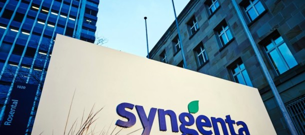 The logo of Swiss pesticide giant Syngenta is pictured at the company's headquarters in Basel on February 3, 2016, ahead of a press conference on the company's annual results.  State-owned China National Chemical Corp., also known as ChemChina, on Wednesday announced a USD 43 billion offer to take over Swiss pesticide giant Syngenta, in what would be by far the biggest overseas acquisition by a Chinese firm.    / AFP / MICHAEL BUHOLZER