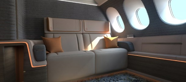 Crystal Cabin Award 2016 / Finalisten 2016 / Luftfahrtbranche / Wettbewerb für Flugzeuginnenausstattung / Kabine / Flugzeugsitze //  Cabin Concepts // Seymourpowell Ltd. / First Spaces is a new concept for a First Class Experience which offers single passengers a choice of room size, and offers couples a double room (at a lower cost than two single First Class seats); this creates a different business model for airlines.