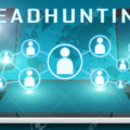 Headhunting - text illustration with social icons and tablet computer and mobile cellphones on cyan digital world map background