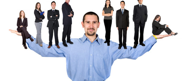 business man with arms open hands facing up with his team
