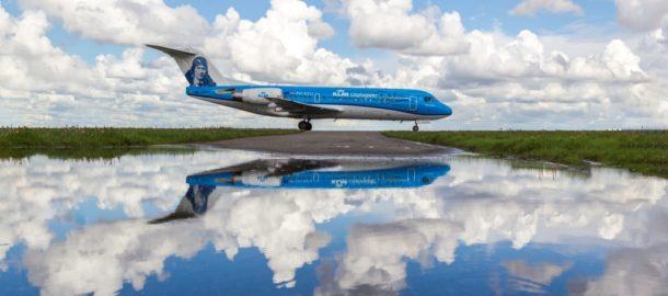 Fokker KLM w pozegnalnym malowaniu m