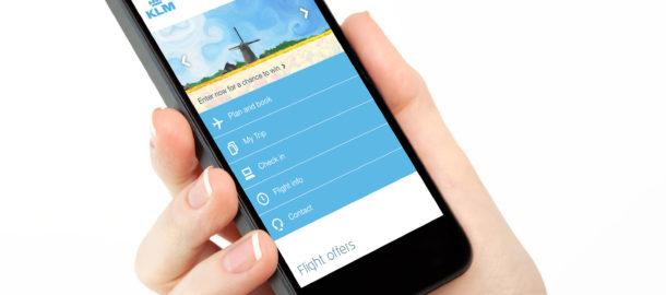 telefon komorkowy z mobilna strona KLM