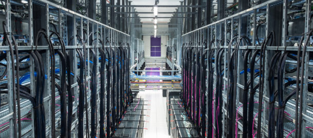 Racks, Wires and optical fibers in a modern datacenter