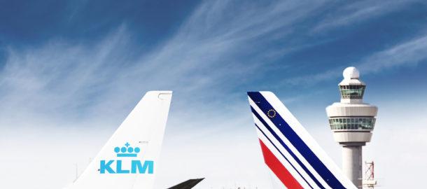 samoloty Air France i KLM na lotnisku